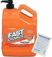 Permatex Fast Orange: Kanister 3,78 Liter mit Pumpe - die perfekte Handreinigung inkl. 1 St. orig. DEWEPRO® SingleScrubs