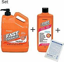 Permatex Fast Orange Set: Kanister 3,78 Liter + Flasche 440ml - die perfekte Handreiniung inkl. 1 St. orig. DEWEPRO® SingleScrubs