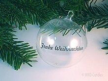 Persönliche Weihnachtskugel - Mundgeblasene Glaskugel schlicht - mit gratis Beschriftung