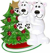 Persönlichen Christmas Ornaments Family general-polar Bär mit Kinder decorat... - WE CUSTOMIZE for you