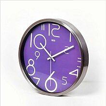 Persönlichkeit Europäische Uhr Vollfarbige digitale Wanduhr runde kreative Heimtextilien Wanduhr , 12 inch -415 silver