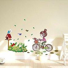 Persönlichkeit Mädchen Vögel Fahrrad Blumen