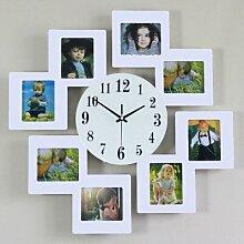 Persönlichkeit Mode zeitgenössische Kreative Holz Bilderrahmen Wanduhr/Dekorative stumm, wenn die elektronische Uhr Quarz Produkte , Weiß