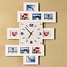 Persönlichkeit Mode zeitgenössische Kreative Holz Bilderrahmen, elektronische Wanduhr Schlafzimmer/Wohnzimmer dekorieren Silent Clock Quarzuhr , Weiß