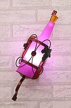Persönlichkeit Multiple Farben Eisen Glas Flasche-LED Wandlampen Lampe Mauern für Bar Club Shop innen zuhause Dekor,Pink