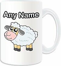 Personalised Gift–Große Lamm Tasse, Motiv: Tiere, Weiß)–Jeder Name/Nachricht auf Ihre einzigartige Tasse–Schaf