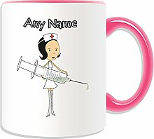Personalised Gift - Dark / Black Hair Nurse with Big Syringe Mug (Health Service Design Theme, Colour Options) - Any Name / Message on Your Unique - National NHS Hospital Worker Staff Uniform Red Cross Hat by UniGif