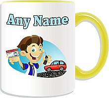 Personalised Gift - Driving License Boy Mug (Occasion Design Theme, Colour Options) - Any Name / Message on Your Unique - Lesson Congratulations Car Keys Pass Test School L P Plate LearnerÊ