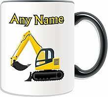 Personalised Gift - Excavator Mug (Transport Design Theme, Colour Options) - Any Name / Message on Your Unique - Driver Tracked Digger Heavy Vehicle Automobile Truck Construction Road Worker JCB CAT mechanical shovel HGV by UniGif