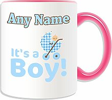 Personalised Gift - It's a Boy Mug (Occasion Design Theme, Colour Options) - Any Name / Message on Your Unique - New Born Baby Congratulations Pushchair Pram Stroller Buggie Blue
