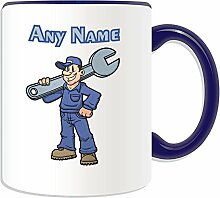 Personalised Gift - Mechanic with Big Wrench Mug (Career Design Theme, Colour Options) - Any Name / Message on Your Unique Mug - Engineer Garage Worker Staff Vehicle Car by UniGif