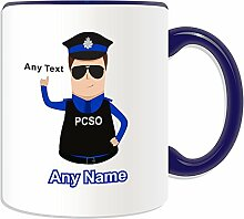 Personalised Gift - Police Community Support Officer Mug (Police Design Theme, Colour Options) - Any Name / Message on Your Unique - PCSO - Brown / Brunette Hair Policeman Hat Cap by UniGif