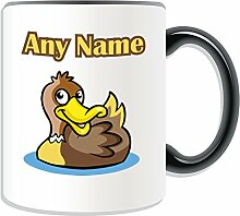 Personalised Gift - Quark Quark Duck Mug (Animal Bird Design Theme, Colour Options) - Any Name / Message on Your Unique Mug by UniGif