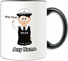Personalised Gift - Traffic Officer Police Constable / Sergeant / (Chief) Inspector Mug (Police Design Theme, Colour Options) - Any Name / Message on Your Unique - PC SGT INSP CID - Brown / Brunette Hair Policewoman Hat Cap by UniGif