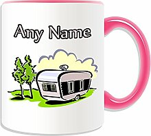 Personalised Gift - Travel Trailer Mug (Transport Design Theme, Colour Options) - Any Name / Message on Your Unique - Campervan Van Mobile Motorhome Camper Caravan Vacation by UniGif