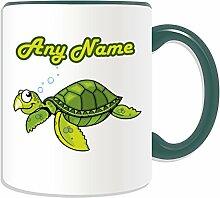 Personalised Gift - Turtle Mug (Animal Sealife Design Theme, Colour Options) - Any Name / Message on Your Unique Mug - Tortoise by UniGif