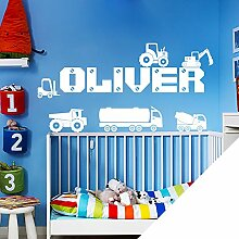 Personalised Name Boys Wall Art Sticker - Lorry, Trucks, Tractor, Digger, Crane, Cars [ Just message us with the name! ] by Wall Designer