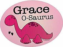 personalisierbar Pink Dinosaurier Kinder Schlafzimmer Metall Tür Plaque