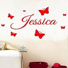 personalisierbarer Wand-Aufkleber, Transfer-Aufkleber, für Kinderzimmer, Orange, L (120 x 40 cm)