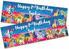 Personalisierbares Geburtstags-Banner mit Einhorn,
