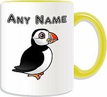 Personalisierbares Geschenk–Papageientaucher-Motiv Kaffee-Becher / Tasse (Tier-Design, verschiedene Farb-Optionen), keramik, Gelb