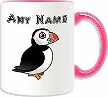 Personalisierbares Geschenk–Papageientaucher-Motiv Kaffee-Becher / Tasse (Tier-Design, verschiedene Farb-Optionen), keramik, Pink