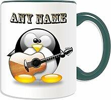 Personalisierbares Geschenkset, klassische Gitarre in Becher (Kostüm, Pinguin-Design, verschiedene Farben) Name Nachricht an ihr einzigartiges und, keramik, grün