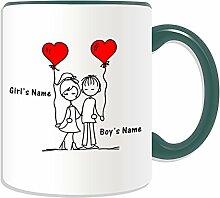 Personalisierbares Geschenkset, romantisch Arm umlegen Becher (Romance Design, verschiedene Farben) auf Nachricht/Name Das einzigartige Becher-Paar, keramik, grün
