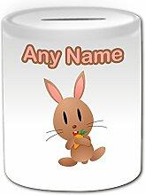 Personalisierbares Geschenkset Spardose, Kaninchen, Tier-Design, Weiß, jeder Name und Nachricht Das einzigartige Bunny-Hase