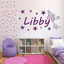 Personalisiert Mädchen Name Schmetterling Schlafzimmer Wandkunst Aufkleber Wandgemälde Transfer - Türkis Grün Glanz, L