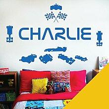 personalisiert Name Kinder Art Wand Aufkleber–Rennfahrer Formel 1Autos Sport–[nur Nachricht uns mit der Name.], Sonnenblumenfarben, L (950 x 290 mm)