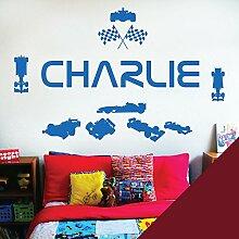 personalisiert Name Kinder Art Wand Aufkleber–Rennfahrer Formel 1Autos Sport–[nur Nachricht uns mit der Name.], burgunderfarben, L (950 x 290 mm)