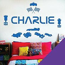 personalisiert Name Kinder Art Wand Aufkleber–Rennfahrer Formel 1Autos Sport–[nur Nachricht uns mit der Name.], violett, L (950 x 290 mm)