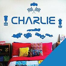 personalisiert Name Kinder Art Wand Aufkleber–Rennfahrer Formel 1Autos Sport–[nur Nachricht uns mit der Name.], ocean, L (950 x 290 mm)