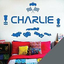 personalisiert Name Kinder Art Wand Aufkleber–Rennfahrer Formel 1Autos Sport–[nur Nachricht uns mit der Name.], dunkelgrau, L (950 x 290 mm)