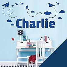 personalisiert Name Kinder Art Wand Aufkleber–Sky, Papier Flugzeuge und Wolken–[nur Nachricht uns mit der Name.], Ultramarin, L (950 x 290 mm)