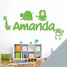 personalisiert Name Kinder Art Wand Aufkleber–Zoo, Giraffe, Affe, Löwe, Elefant–[nur Nachricht uns mit der Name.], Silber, Large (950 x 290mm)