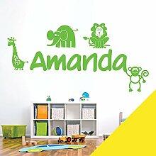 personalisiert Name Kinder Art Wand Aufkleber–Zoo, Giraffe, Affe, Löwe, Elefant–[nur Nachricht uns mit der Name.], zitronengelb, Large (950 x 290mm)