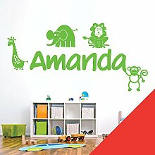 personalisiert Name Kinder Art Wand Aufkleber–Zoo, Giraffe, Affe, Löwe, Elefant–[nur Nachricht uns mit der Name.], Mohn, Large (950 x 290mm)