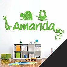 personalisiert Name Kinder Art Wand Aufkleber–Zoo, Giraffe, Affe, Löwe, Elefant–[nur Nachricht uns mit der Name.], schwarz, Large (950 x 290mm)