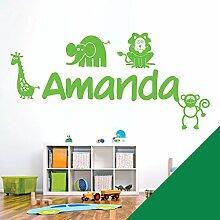 personalisiert Name Kinder Art Wand Aufkleber–Zoo, Giraffe, Affe, Löwe, Elefant–[nur Nachricht uns mit der Name.], meadow, Medium (580 x 290mm)