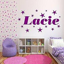 Personalisiert Sterne Name Mädchen Schlafzimmer Wandkunst Aufkleber Wandgemälde Transfer - Magenta Rosa Glanz, XL