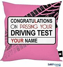 personalisiert wechseln fahren Übungs Pink Design Kissen Made in Yorkshire tolle Geschenkidee