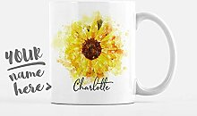 Personalisierte Becher Sonnenblume Name