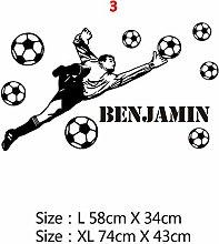 Personalisierte Fußball Name Vinyl Wandaufkleber