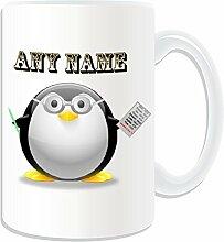 Personalisierte Geschenkbox mit Lehrer, Dozent Tasse-in-Design, Pinguin-Design), Weiß Jeder Name und Nachricht an ihr einzigartiges