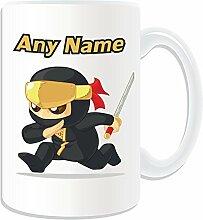 """Personalisierte Geschenkbox Ninjutsu Running Becher (Martial Arts Design """", weiß-auf das Nachricht/Name Einzigartige Kung-Fu-Japan Ninja Japan Ninjitsu"""
