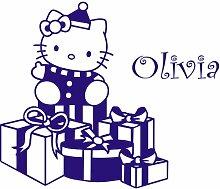 Personalisierte Hello Kitty 42 cm x 40 cm/Farbe: Saphir Blau, personalisierbar, jede gewählte name name, Kinderzimmer, Vinyl, Fenster und Auto-Aufkleber, Wand Windows-Art-ThatVinylPlace Wandtattoo Motiv