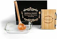 Personalisierte Küchenset im Geschenkbox – Auflaufform, Schöpfkelle & Rezeptbuch – Kostenlose Gravur – Beste Geschenkideen für Mutter, Küchen, Koch