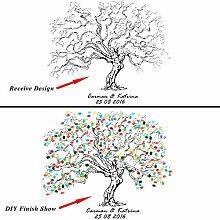 Personalisierte Leinwand Hochzeit Fingerabdruck Baum Gästebuch + 12Farben Tinte Pads DIY Malerei für Baby Dusche Geburtstag Party, S, LS